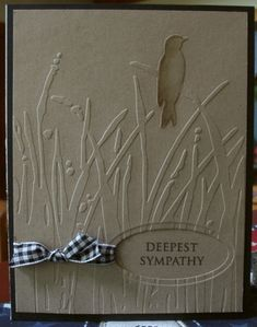 Grass and Bird Folder Sympathy · Heart Prints Funeral Cards, Deepest Sympathy, Scrapbooking, Making Greeting Cards, Embossed Cards, Beautiful Handmade Cards, Fathers Day Cards, Get Well Cards, Animal Cards
