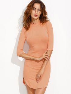 10$  Watch now - http://diydr.justgood.pw/go.php?t=5335 - Orange Mock Neck Curved Hem Ribbed Sheath Dress