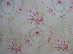 Yuwa 1890's French Wreaths of Pink Raspberry Roses Aqua Bows Dobby Cotton Fabric  | eBay