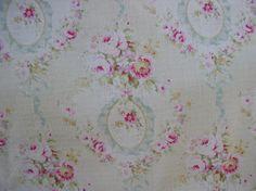 Yuwa 1890's French Wreaths of Pink Raspberry Roses Aqua Bows Dobby Cotton Fabric  | eBay