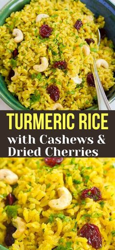 Kick up your side dish game with this Turmeric Rice recipe, complete with crunchy cashews and sweet-tart cherries. 108 calories and 3 Weight Watchers SP | Easy | Recipe simple | Vegan | Plant Based | Gut Health | Healthy #turmericrice #plantbased #guthealth #vegansides #veganrecipes #weightwatchers Clean Eating Recipes, Diet Recipes, Vegetarian Recipes, Cooking Recipes, Healthy Recipes, Weeknight Recipes, Top Recipes, Healthy Side Dishes, Vegetable Side Dishes