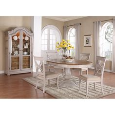 Emerald Home Brighton Dove Gray 5 piece Oval Dining Set - Upgrade your dining room with the Emerald Home Brighton Dove Gray 5 piece Oval Dining Set. An elegant way to dine, this set includes an oval dinin...