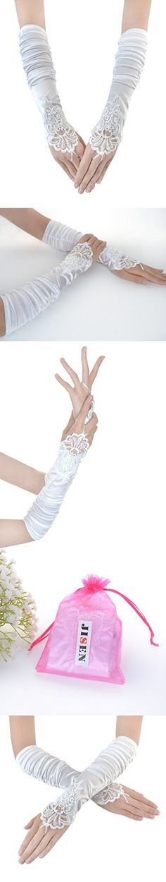 JISEN Ladies's Fingerless Gathered and Beaded Fold Floral Embroidery Lace & Sequins Satin Bridal Party Gloves 15 (White)