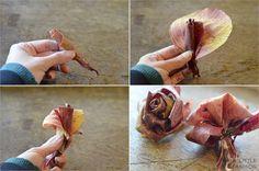 DIY-Deko: Wunderschöne Rosen aus Blättern