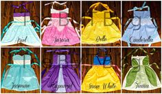 Miracles, &Thoughts in Between: Made by Mimi: Disney Princess dress-up aprons!Blessings, Miracles, &Thoughts in Between: Made by Mimi: Disney Princess dress-up aprons! Disney Princess Aprons, Disney Aprons, Disney Dress Up, Disney Princesses, Girls Dress Up, Dress Up Outfits, Baby Girl Dresses, Princess Girl, Princess Style