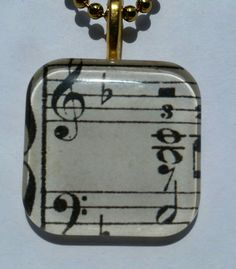 Music staff - glass pendant and chain by MyStrawberryThief on Etsy