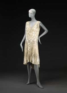 1926, England or France - Dress - Silk, glass, diamanté, metallic thread, glass beads, metal, cotton
