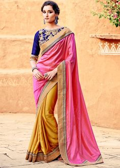 Buy party wear saree online for women. Grab this crepe silk embroidered and patch border work designer saree for festival and party. Gold Silk Saree, Crepe Silk Sarees, Pink Saree, Silk Crepe, Party Wear Sarees Online, Party Sarees, Wedding Sarees, Designer Sarees Online Shopping, Latest Designer Sarees