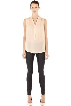 Warehouse ZIP FRONT LACE BACK BLOUSE