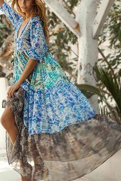 d630d3221c7b0 Fashion Bohemia Style Floral Print Chiffon Maxi Dress