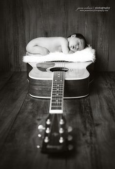Newborn photography-guitar perspective im doing this shot with our baby someday! Foto Newborn, Newborn Baby Photos, Newborn Poses, Newborn Shoot, Newborn Baby Photography, Newborn Pictures, Maternity Pictures, Pregnancy Photos, Baby Pictures