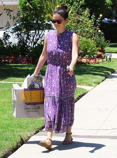 On Rachel Bilson: Elizabeth and James Miramar Sunglasses ($220); Ulla Johnson Anjali Dress ($276); Madewell sandals.