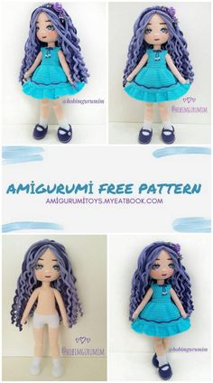 Crochet Bookmark Pattern, Doll Patterns Free, Crochet Amigurumi Free Patterns, Crochet Bear, Cute Crochet, Crochet Toys, Doll Amigurumi Free Pattern, Crochet Doll Pattern, Crochet Doll Dress