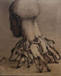 Alfred Kubin (1877-1959). La Grande Tête, vers 1900. Encre de Chine, plume et crachis sur papier de cadastre.