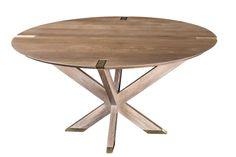 Newton Table, by Huston & Company, Kennebunkport, ME. White Oak, solid brass, whitewash finish.