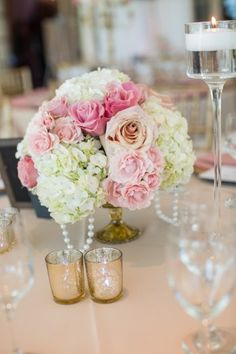 pink and white low centerpiece, mercury glass centerpiece vase with pearl decorative accents, pearl centerpiece reception from pastel pink vintage chic Newton White Mansion Maryland Wedding