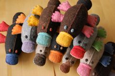 Felt Toy Platypus Grey Green Red  Handmade Pure Wool OOAK. Oh, for sure - love with platypus!!