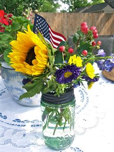 We are truly blessed to have the means to set a pretty table and invite our friends to join us for good food and fel. Fourth Of July Decor, 4th Of July Party, July 4th, Pretty Flowers, Fresh Flowers, Outdoor Dinner Parties, Summer Barbecue, Summer Memories, Floral Arrangements