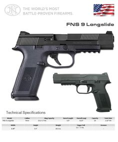 The World's Most Battle-Proven Firearms - FNS 9 Longslide 🇺🇸 Weapons Guns, Guns And Ammo, Self Defense, Home Defense, Assault Weapon, Military Guns, Military Equipment, Revolver, Firearms