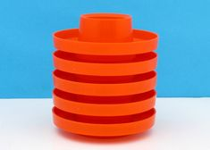 Vintage Plysu Egg Cups x 5 Bright Orange Plastic Stackable Campervan Accessories, Vintage Home Accessories, Flying Saucer, Egg Cups, 1970s, Retro Vintage, Plastic, Bright, Orange