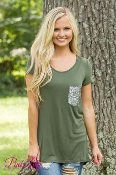 A Simple Sparkle Pocket Blouse Olive - The Pink Lily