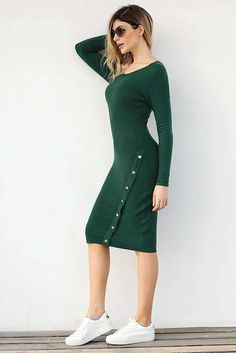 Green Button Detail Knee Length Sweater Dresses: Classic and easy to slip in pullover design, long sleeves and bodycon fit Green Sweater Dress, Sweater Outfits, Sweater Dresses, Cheap Dresses Online, Pullover Designs, Knee Sleeves, Green Button, Wholesale Fashion, Women's Fashion Dresses