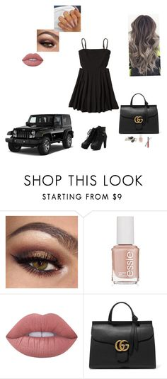 """Dinner outfit!"" by sabellacunningham ❤ liked on Polyvore featuring Wrangler, Privileged, Essie, Lime Crime, Gucci and Hollister Co."
