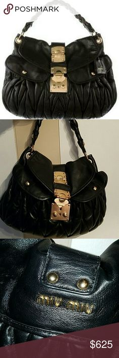 Miu Miu matelasse coffer AUTHENTIC Pre-loved leather bag, beautiful soft leather...still has alot of life left in this used bag, no strap for crossbody but I'm sure you can find one. It has a small nick on one of the handles which I have posted pics...perfect everyday bag Miu Miu Bags Shoulder Bags