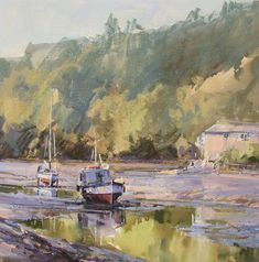 Academician Artist: Ray Balkwill SWAc (click to view profile page) Title: Sunlit Creek, Lerryn -Sold- Medium: Mixed Media Size: 17 x 17in. (43 x 43cm)