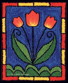 Tiffany Tulips Punchneedle Pattern & Button Pack by Artful Offerings ~ Karina Hittle
