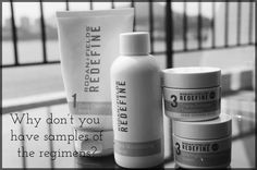"""People often ask me """"Do you have samples of the regimens?"""". Great question!  To try a product for a day or two only gives you a sense of how the products smell or feel on your skin but won't give results.  It takes time for our skin to get to a point where we take notice and want to make a change so it is natural that it will take some time to see results. This is where our 60 day empty bottle money back guarantee comes in! Real results take consistent use over time!"""