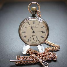 Waltham Antique Victorian 1888 Gun Metal Pocket Watch + Rose Gold Plated Chain Waltham Watch, Vintage Clocks, Dog Clip, Rose Gold Watches, Pocket Watches, Rose Gold Plates, Antique Jewelry, Gun, Victorian