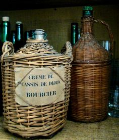 ~Wine jugs in my favorite smaller size~ love the label on the Cassis jug~
