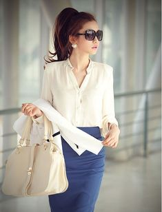 Work attire~ Cream blouse and blue pencil skirt.