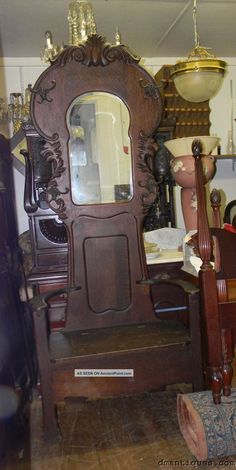 Details About Antique Hall Seat Coat Tree Stand With