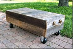 14 Free Plans to Help You Build a Coffee Table: Factory Cart-Style Coffee Table Plan from Addicted 2 Decorating