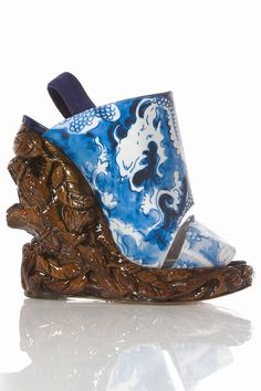 Rodarte by Nicholas Kirkwood Carved Wooden Wedges...these heels are serious art    			                             Carved wood open-toe wedge