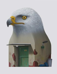 Andre Schulze Wächter Oil on Canvas Art Painting Eastgerman Architecture Surreal Bird House