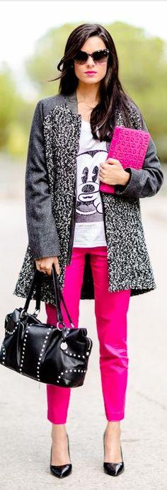 Touch of pink - Pink look - Toque de rosa - Fucsia - Fuchsia - abrigo IKKS coat - camiseta Eleven Paris tee - bolso BCBG Max Azria bag - gafas de sol Dolce & Gabbana sunglasses - pantalones Sheinside pants - zapatos de tacón Zara heels - funda ipad Marc by Marc Jacobs ipad case