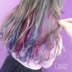WEBSTA @ sayapandy - ファンシーカラー*表面はミルクティーページュインナーにpink Blue violet*#カラー#美容師#美容室#サロン#カラフル#ハデ#マニパニ#インナーカラー#ファンシー#ハニーベージュ#ハイトーン#アッシュ#ベージュ
