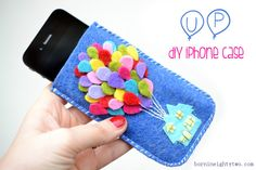 diy up pixar iphone case. This would be cute hot glued on an old plastic phone case so your phone would still be protected while in use
