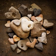 stones and pebbles resembling hearts...