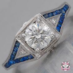 Art Deco Engagement Ring - EGL Certified 0.90ct E/SI Diamond 5,000