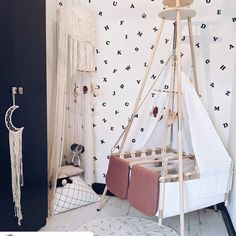 All ready to go, or better: to go sleeping❤️ Hanging Bassinet, Hanging Cradle, Hanging Crib, Wall Stickers, Wall Decals, Baby Cribs, Ready To Go, One Color, Color Schemes