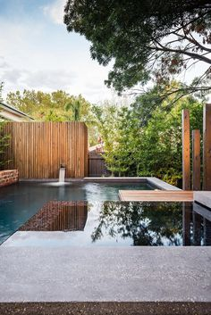 Naroon modern backyard project by Signature Landscapes COS Design and Serenity Pools 4 Family Fun: Modern Backyard Design for Outdoor Experi. Modern Backyard Design, Modern Landscaping, Patio Design, Garden Design, Hydrangea Landscaping, Privacy Landscaping, Contemporary Landscape, Landscape Design, Contemporary Design