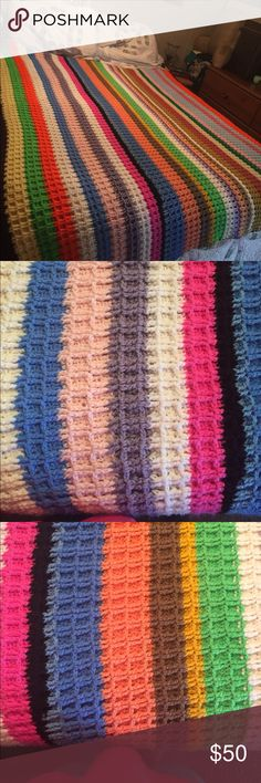 """Hand crocheted afghan queen size Beautiful hand crafted queen size afghan in multi colors to match any decor. Measures 58""""x55"""" photos taken on queen size bed. I also have one a available in super twin size. 😁 Other"""