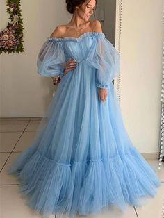 Ball Gown Blue Tulle Prom Dresses Long Sleeve Off the Shoulder Quinceanera Dresses - Bal de Promo Princess Prom Dresses, Prom Dresses Long With Sleeves, A Line Prom Dresses, Tulle Prom Dress, Cheap Prom Dresses, Quinceanera Dresses, Evening Dresses, Dress Long, Dress Formal