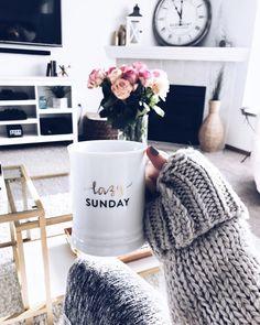 Lazy sundays mug - Fashionably Kay Sunday Coffee, Coffee Is Life, Lazy Sunday, Lazy Days, Cozy Living Rooms, Living Spaces, Sunday Pictures, Good Energy, Cozy Bedroom