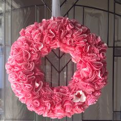 Valentines Wreath made with cupcake liners.