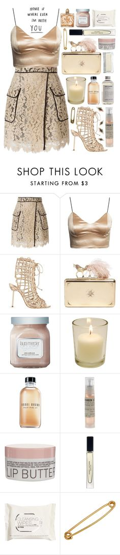 """""""Untitled #1129"""" by noviii ❤ liked on Polyvore featuring MSGM, Sophia Webster, Alexander McQueen, Laura Mercier, Lalique, Bobbi Brown Cosmetics, Le Labo, Korres, Marc Jacobs and H&M"""